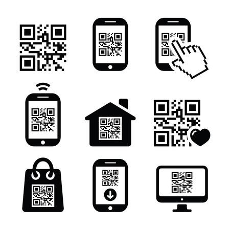 smartphone mano: QR code sulle icone di telefonia mobile o cellulare impostato Vettoriali