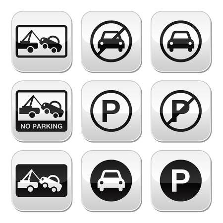 cars parking: No parking, cars buttons set Illustration