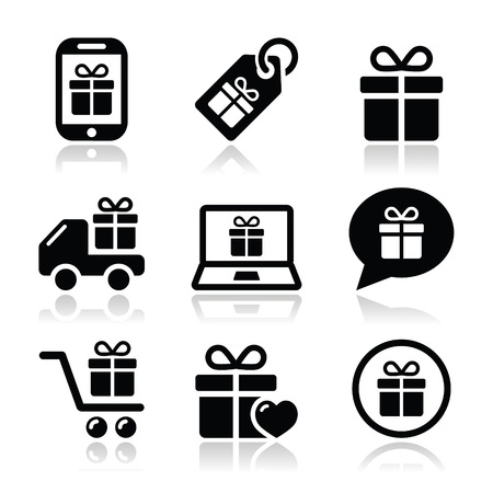 Present, shopping vector icons set Vector