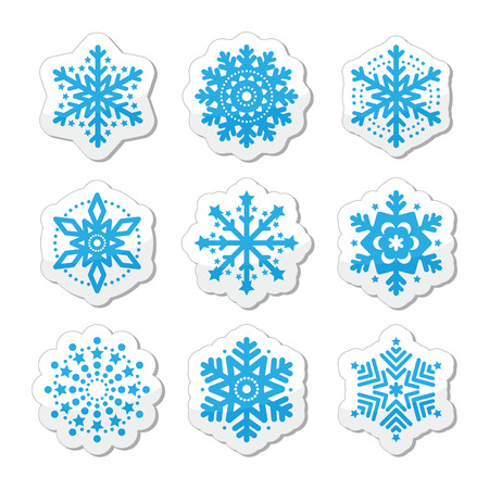 Christmas or winter Snowflakes icons Illustration