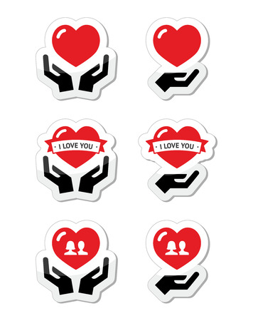 Hands with red heart, love, relationship icons set Stock Vector - 22318753