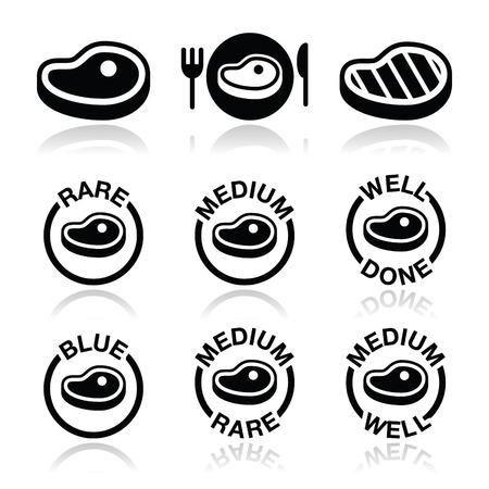 steak plate: Steak - medio, bien hecho, iconos raros, a la parrilla establecidos Vectores