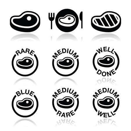 Steak - medium, rare, well done, grilled icons set Illustration