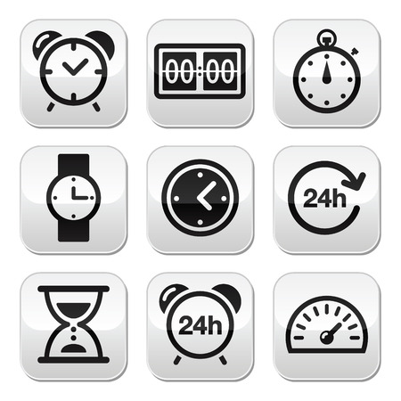 seconds: Time, clock buttons set Illustration