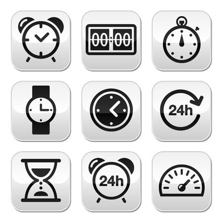 h: Time, clock buttons set Illustration