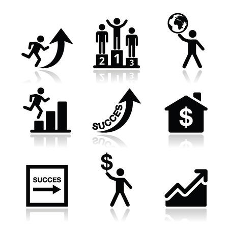 El éxito en los negocios, los iconos de auto desarrollo conjunto Ilustración de vector