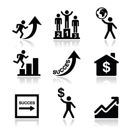 Success in business, self development icons set Vector