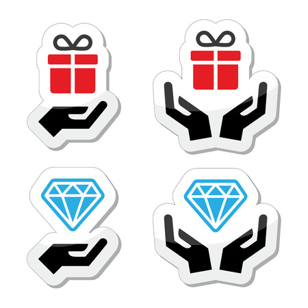 Hands with present and diamond icons set Vector