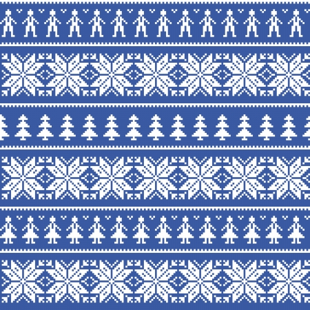 Nordic christman seamless pattern with men and women Vector
