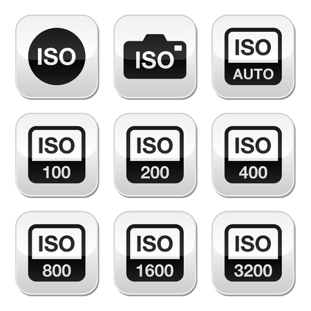iso: ISO - camera film speed standard buttons set
