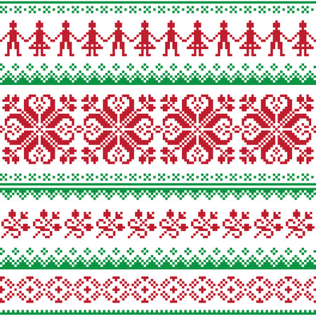 scandynavian: Nordic seamless knitted red and green pattern Illustration