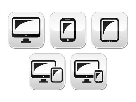 Computer, tablet, smartphone vector buttons set Vector