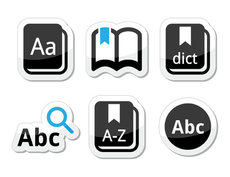 thesaurus: Dictionary book vector icons set