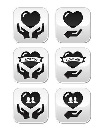Hands with heart, love, relationship buttons set Stock Vector - 22777805