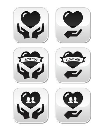 recibo: Manos con el corazón, amor, botones relaciones establecidas