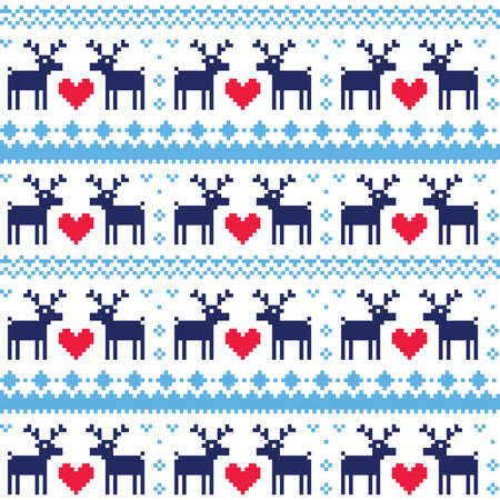 scandynavian: Nordic seamless pattern with deer and hearts