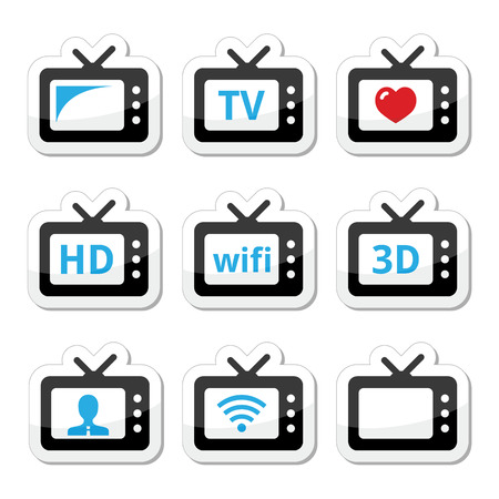 TV set, 3d, HD vector icons set Vector