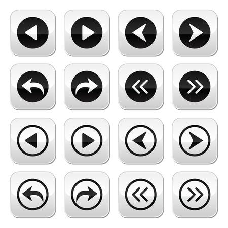 Anteriores, flechas próximos botones de vector Ilustración de vector