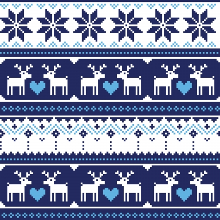 Scandynavian knitted seamless pattern with deer Vector
