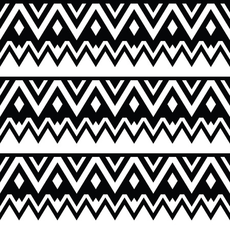 Aztec seamless pattern, tribal black and white background Vector