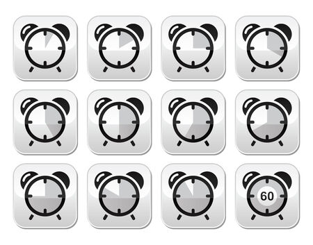 cooking time: Time measure, clock vector buttons set Illustration