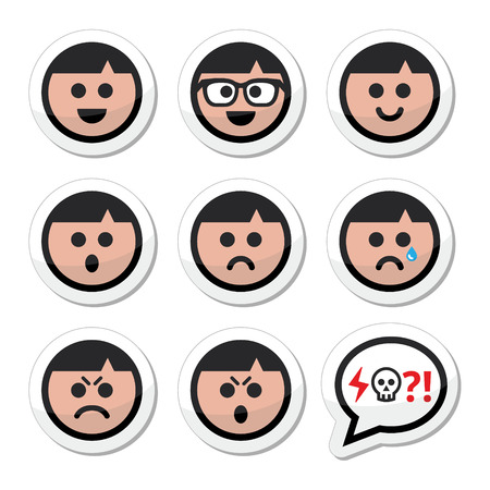 pissed off: Man, boy faces, avatar vector icons set