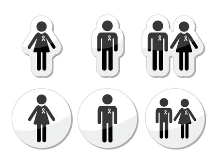 Man and woman, people with awareness ribbons icons Vector