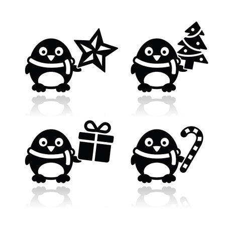 Christmas cute penguin vector icons set Vector