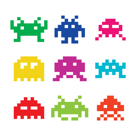 8bit: Space invaders, 8bit alieni icone set Vettoriali