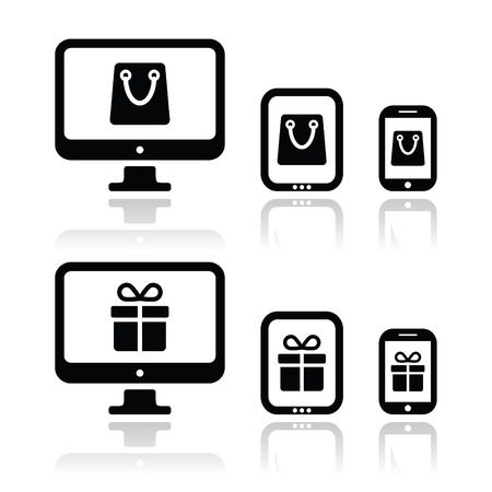 Shopping online, internet shop icons set Vector