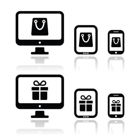 internet shop: Shopping online, internet shop icons set
