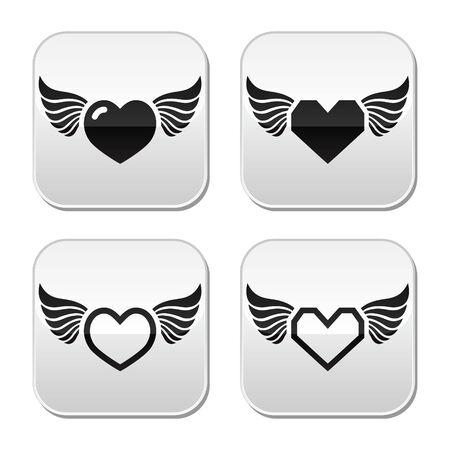 Corazón con alas botones Conjunto Foto de archivo - 22779022