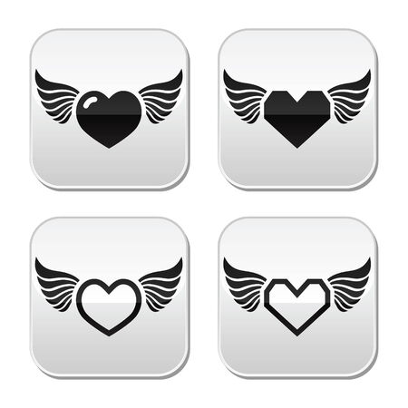 Heart with wings buttons set Vector