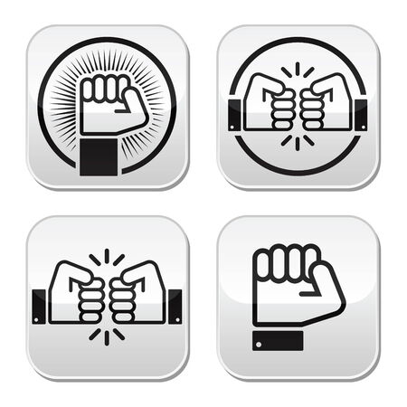 bump: Fist, fist bump vector buttons set Illustration