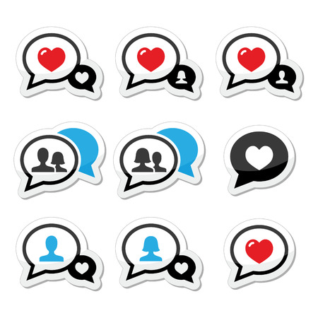 Love, speech bubbles with heart vector icons set Vector