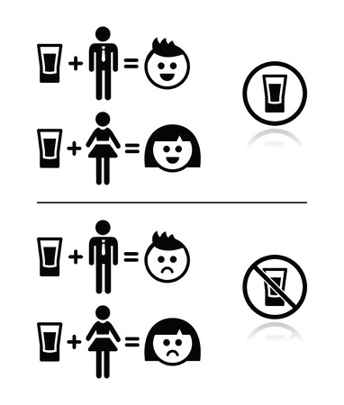 black boy: People drinking alcohol - sad and happy face icons set