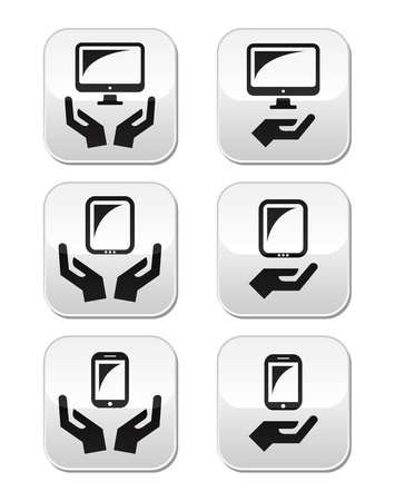 Hands with computer, tablet, mobile or cell phone buttons Vector