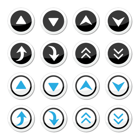 back round: Up and down arrows round icons set