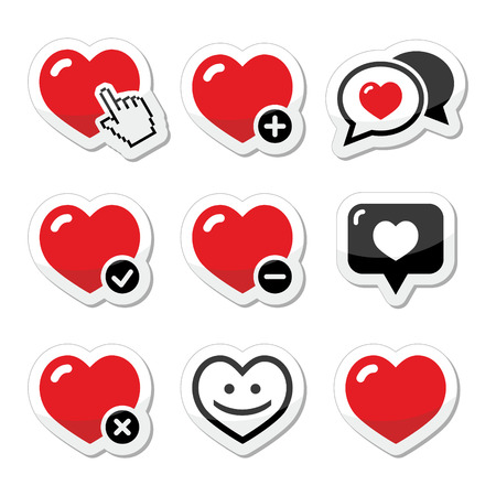 Heart, love icons set Stock Vector - 23084424
