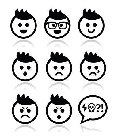 cara triste: Hombre o muchacho con el pelo de punta enfrenta iconos conjunto