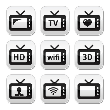 TV set, 3d, HD buttons  Stock Vector - 23084449