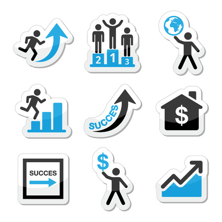 self development: Success in business, self development icons set Illustration