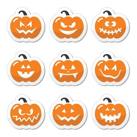 terrible: Halloween pumkin orange icons set