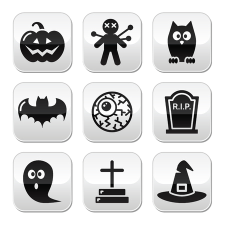 Halloween buttons set - pumpkin, witch, ghost, grave Vector