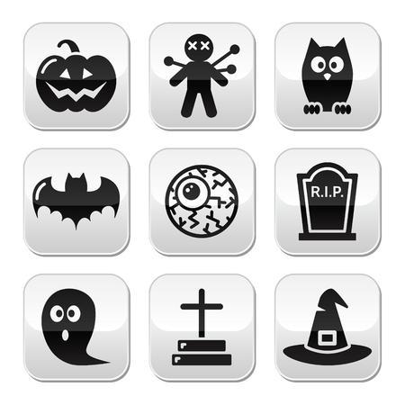 Voodoo doll: Halloween buttons set - pumpkin, witch, ghost, grave