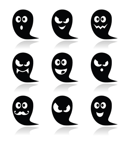 Halloween ghost vector icons set - scary, friendly, happy Vector