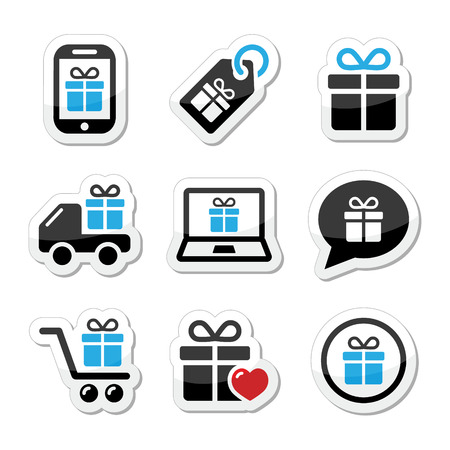 Present, shopping icons set Vector