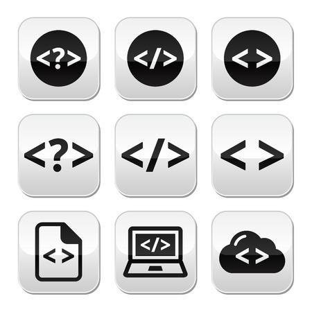Programming code buttons set Vector