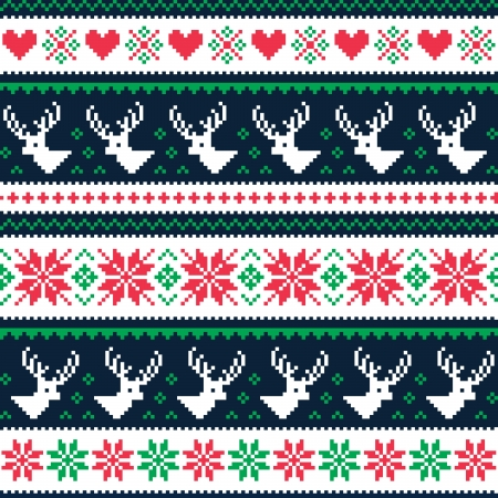 Scandynavian winter seamless pattern with deer and hearts Vector