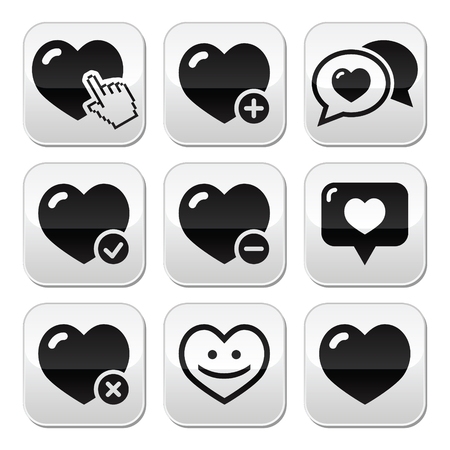 Heart, love buttons set Vector